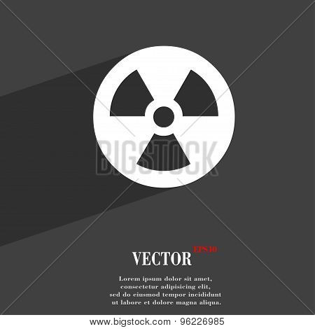 Radiation Icon Symbol Flat Modern Web Design With Long Shadow And Space For Your Text. Vector
