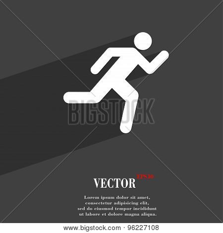 Running Man Icon Symbol Flat Modern Web Design With Long Shadow And Space For Your Text. Vector