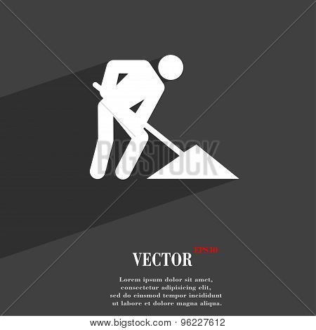 Repair Of Road, Construction Work Icon Symbol Flat Modern Web Design With Long Shadow And Space For