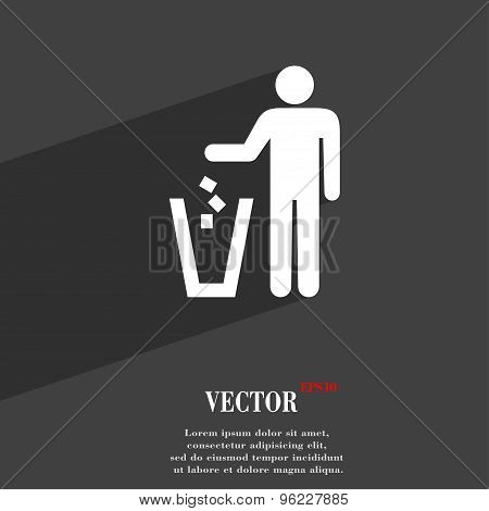 Throw Away The Trash Icon Symbol Flat Modern Web Design With Long Shadow And Space For Your Text. Ve
