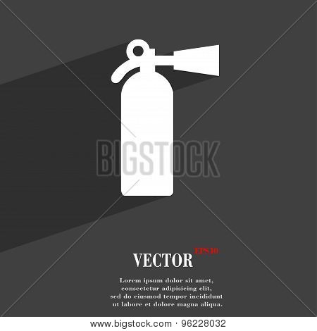 Extinguisher Icon Symbol Flat Modern Web Design With Long Shadow And Space For Your Text. Vector