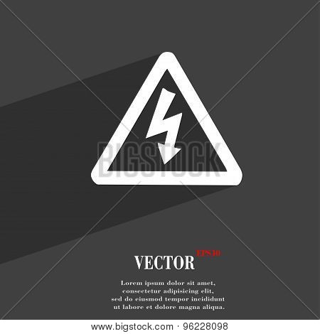 Voltage Icon Symbol Flat Modern Web Design With Long Shadow And Space For Your Text. Vector