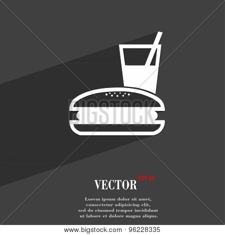 Lunch Box Icon Symbol Flat Modern Web Design With Long Shadow And Space For Your Text. Vector
