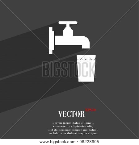 Faucet, Glass, Water Icon Symbol Flat Modern Web Design With Long Shadow And Space For Your Text. Ve