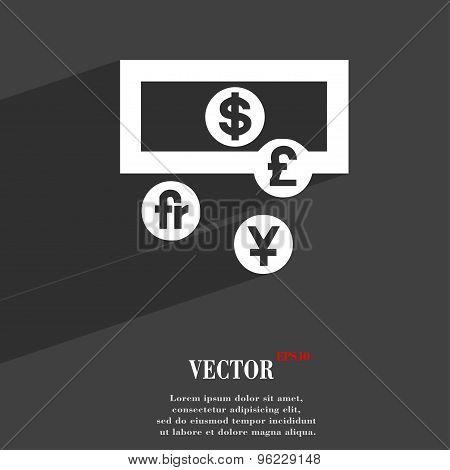 Currencies Of The World Icon Symbol Flat Modern Web Design With Long Shadow And Space For Your Text.