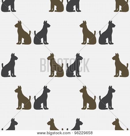 Seamless pattern with silhouettes of cats
