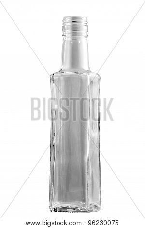 Empty Glass Bottle On A White Background.