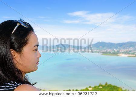 Women Tourist Looking The Sea In Phuket, Thailand