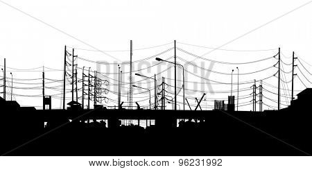 EPS8 editable vector detailed silhouette of an urban scene of chaotic overhead cables in Bangkok