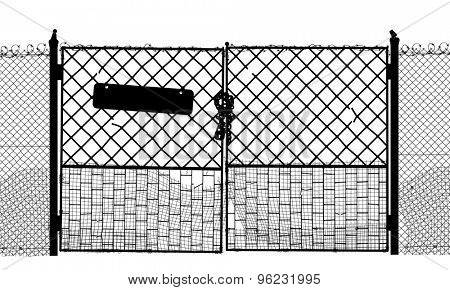 EPS8 editable vector silhouette of an old security gate with sign, lock and two sides of gate as separate objects