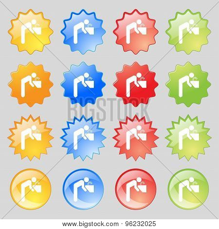 Drinking Fountain Icon Sign. Big Set Of 16 Colorful Modern Buttons For Your Design. Vector