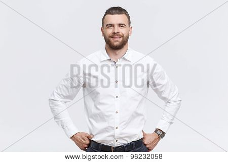 Handsome man with hands on his hips