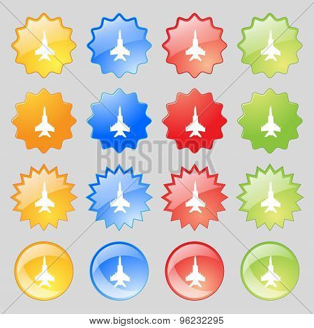 Fighter Icon Sign. Big Set Of 16 Colorful Modern Buttons For Your Design. Vector