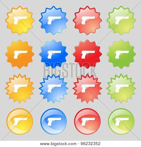 Gun Icon Sign. Big Set Of 16 Colorful Modern Buttons For Your Design. Vector