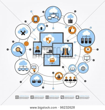 Cloud computing system. Computer, mobile phone, laptop surrounded by abstract computer network with integrated circles and icons. Communicate Infographic design background. File is saved in 10 EPS