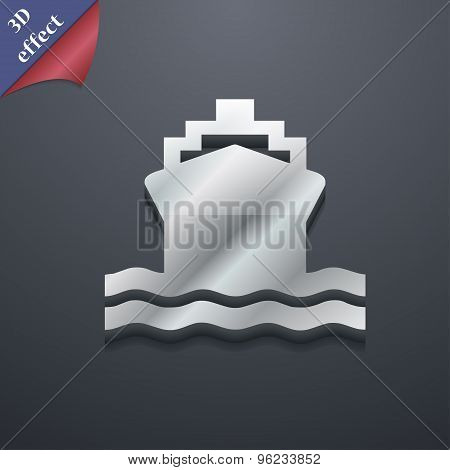 Ship Icon Symbol. 3D Style. Trendy, Modern Design With Space For Your Text Vector
