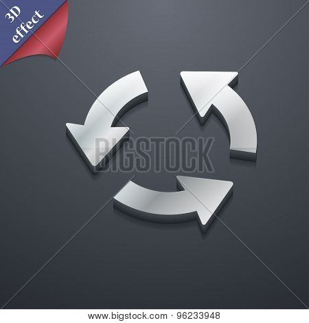 Refresh Icon Symbol. 3D Style. Trendy, Modern Design With Space For Your Text Vector