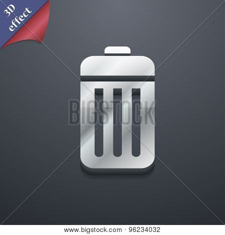The Trash Icon Symbol. 3D Style. Trendy, Modern Design With Space For Your Text Vector