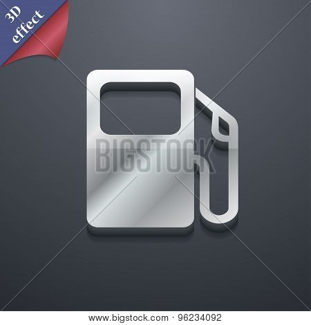 Auto Gas Station Icon Symbol. 3D Style. Trendy, Modern Design With Space For Your Text Vector