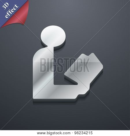 Read A Book Icon Symbol. 3D Style. Trendy, Modern Design With Space For Your Text Vector