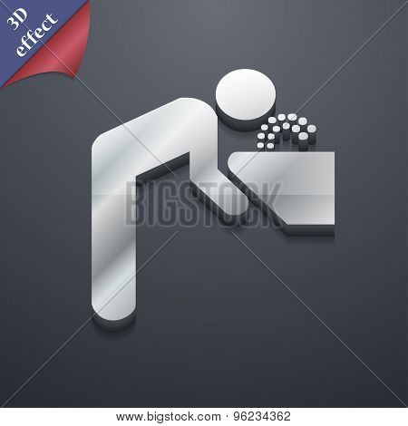 Drinking Fountain Icon Symbol. 3D Style. Trendy, Modern Design With Space For Your Text Vector