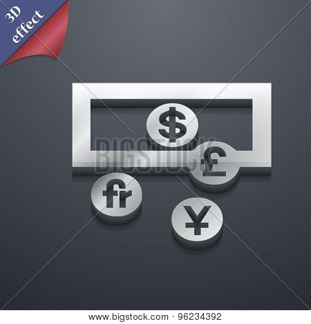 Currencies Of The World Icon Symbol. 3D Style. Trendy, Modern Design With Space For Your Text Vector
