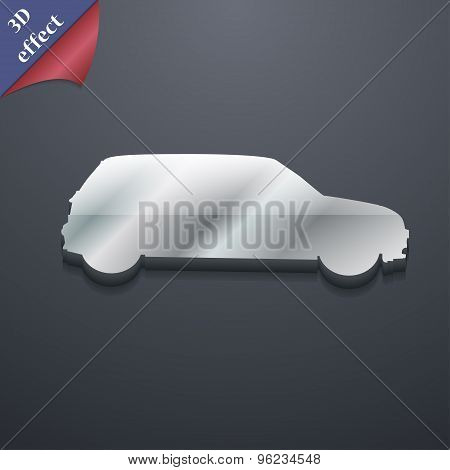 Jeep Icon Symbol. 3D Style. Trendy, Modern Design With Space For Your Text Vector