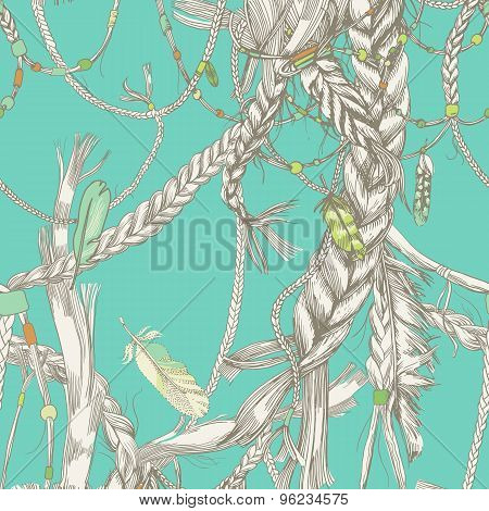 Seamless pattern with girlish braids, hair, wind and feathers. In the hair woven beads. Indian girls