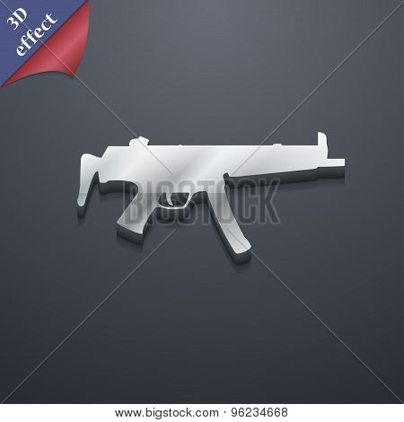 Machine Gun Icon Symbol. 3D Style. Trendy, Modern Design With Space For Your Text Vector