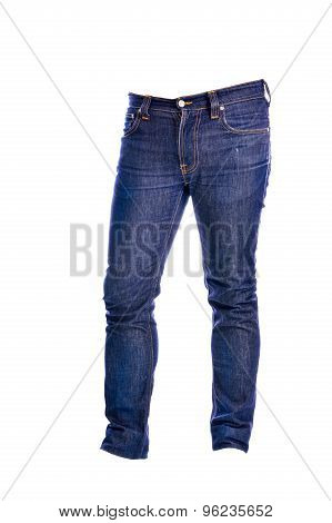 The Blue Jeans trousers on white background