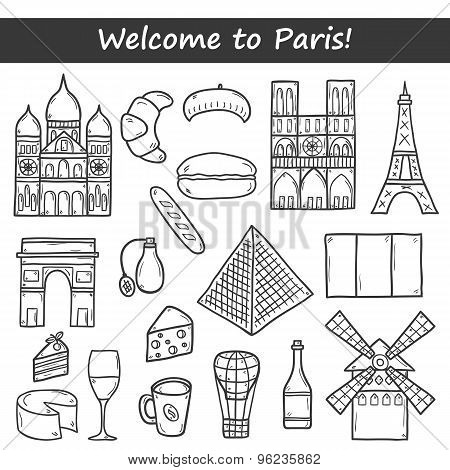 Set of cute hand drawn cartoon objects on Paris theme: eiffel tower, flag, moulen rouge, wine, crois