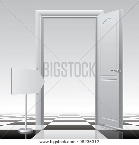 White open door with a sign on the chess floor. Vector illustration