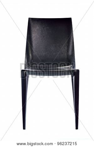 Black plastic chair isolated on white background