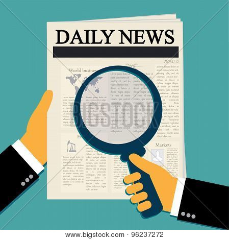 Magnifying glass, daily news, newspaper, vector