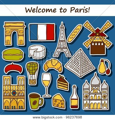 Set of cute hand drawn cartoon stickers on Paris theme: eiffel tower, flag, moulen rouge, wine, croi