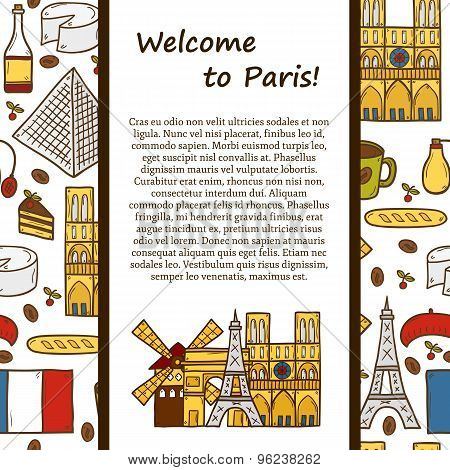 Vector travel concept with cute hand drawn cartoon objects on Paris theme: eiffel tower, flag, moule