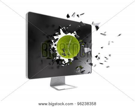 Tennis Ball Destroy Computer Screen.