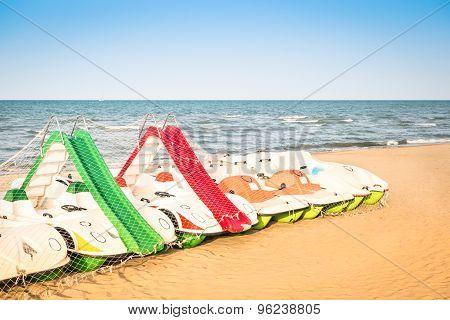 Paddle Boat At Italian Beach - Beginning Of Summer Season 2015 In Rimini Italy - Summer Concept