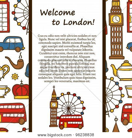 Vector travel concept with cute hand drawn cartoon objects on London theme: red bus, big ben, london