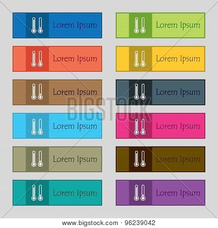 Thermometer Temperature Icon Sign. Set Of Twelve Rectangular, Colorful, Beautiful, High-quality Butt