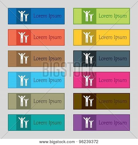 Happy Family Icon Sign. Set Of Twelve Rectangular, Colorful, Beautiful, High-quality Buttons For The