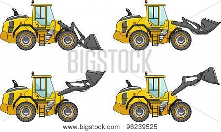 Wheel loaders. Heavy construction machines. Vector illustration