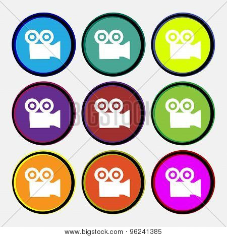 Video Camera Icon Sign. Nine Multi Colored Round Buttons. Vector