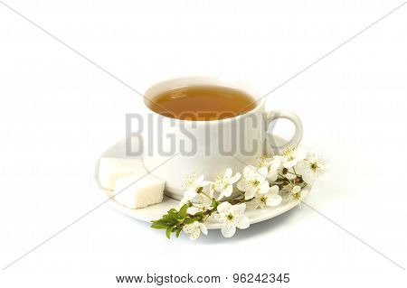 Cherry Tea In A White Mug