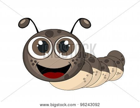 Cute Caterpillar Illustration With Drop Shadow On  Brown