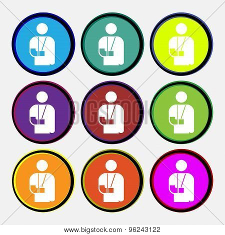 Broken Arm, Disability Icon Sign. Nine Multi Colored Round Buttons. Vector