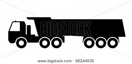 Silhouette of a dump truck on white background.