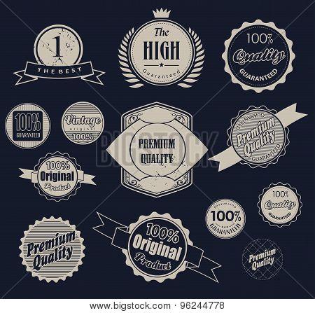 Set of retro  labels. Vector illustration.