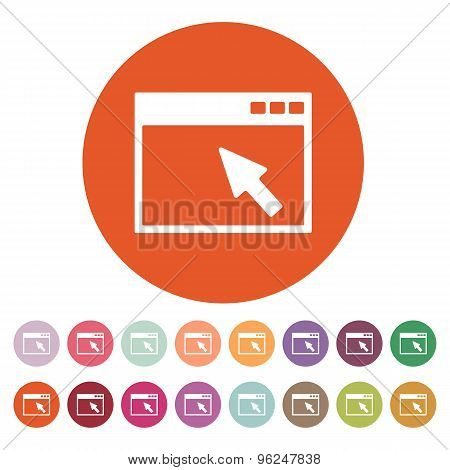 The browser icon. Website and WWW, network symbol. Flat