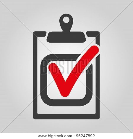 The checklist icon. Clipboard and executed task, correct answer symbol. Flat